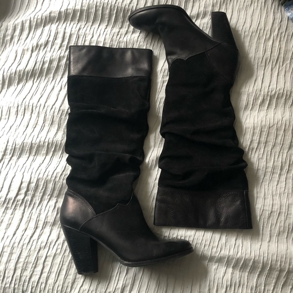d61146860742a Black Leather Zodiak Panda Slouch Boots
